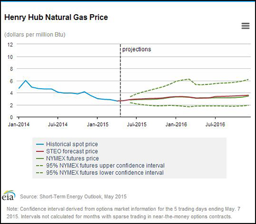 Natural gas price forecasts are scattered for the upcoming year.